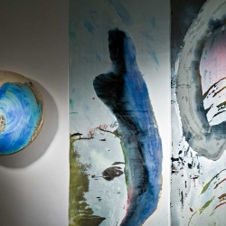 Two Glass Panels and Ceramics by Gary Wood, Bath UK