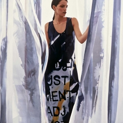 Painted Fabric Hanging Installation with Painted Dress, London UK