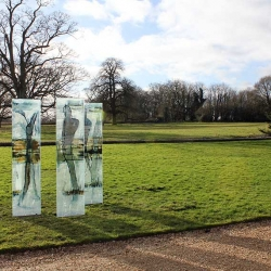Figurative Triptych Glass Panels Exhibited at Lacock Abbey, UK