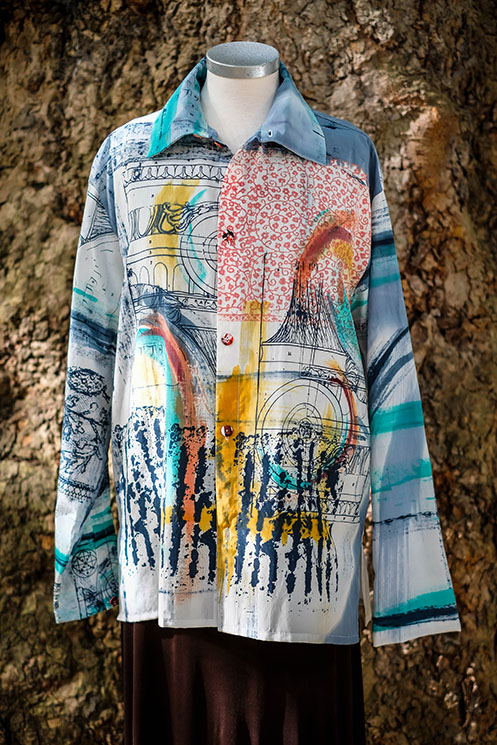 mans style cotton silk mix shirt