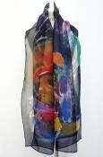 navy silk organza scarf