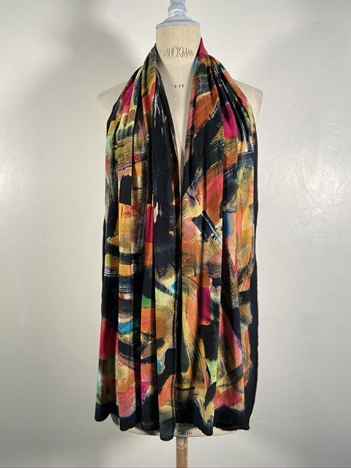 knitted jersey painted scarf