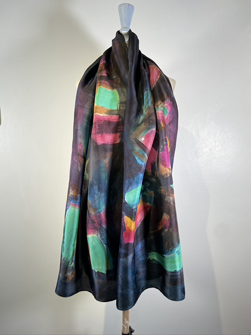 silk scarf painted by hand