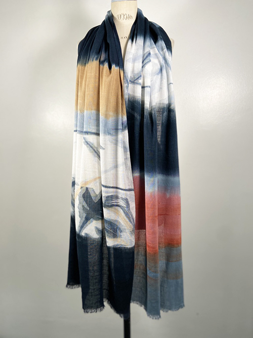 handpainted rblack and white cotton scarf