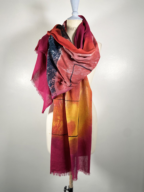 handpainted red cotton shawl carole waller