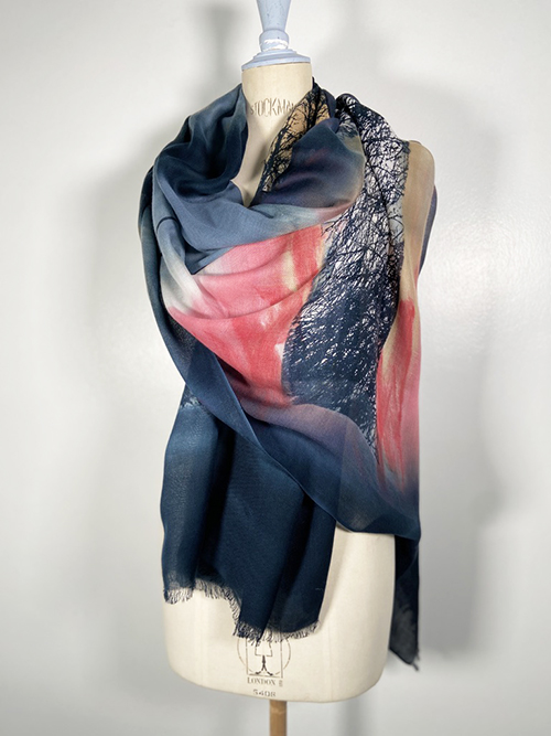 handpainted greay and pink shawl