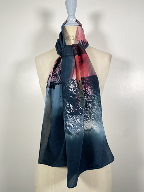 grey and pink silk scarf