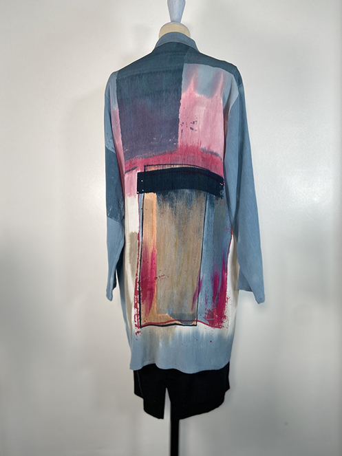 painted silk blouse