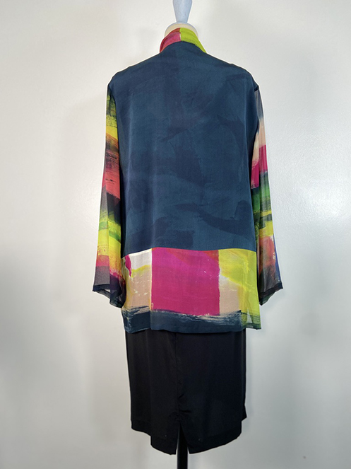 Carole Waller handpainted silk crepe and georgette tunic 'Glider'
